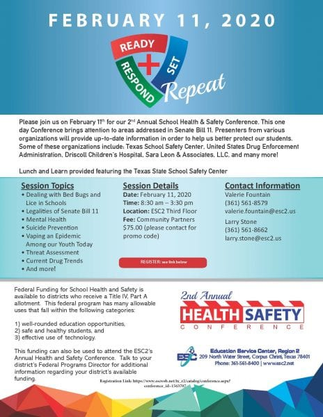 School Health and Safety Conference @ Education Service Center, Region 2 | Corpus Christi | Texas | United States