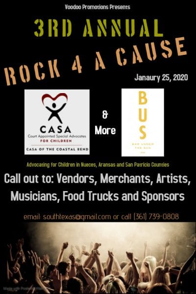 3rd Annual Rock 4 a Cause befitting CASA of the Coastal Bend @ BUS. Bar Under the Sun